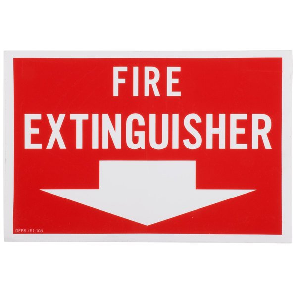 """Buckeye Fire Extinguisher Adhesive Label - Red and White, 12"""" x 8"""""""