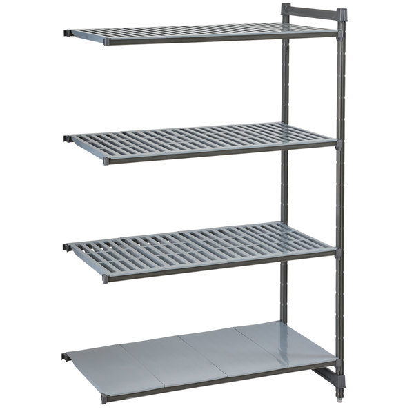 """Cambro CBA243072VS4580 Camshelving® Basics Plus Add On Unit with 3 Vented Shelves and 1 Solid Shelf - 24"""" x 30"""" x 72"""""""
