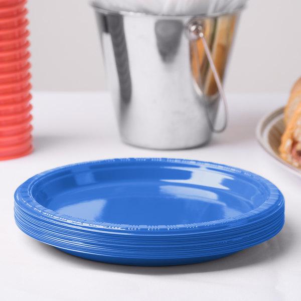 """Dart Solo P65B-0099 6"""" Blue Plastic Plate - 1000/Case"""
