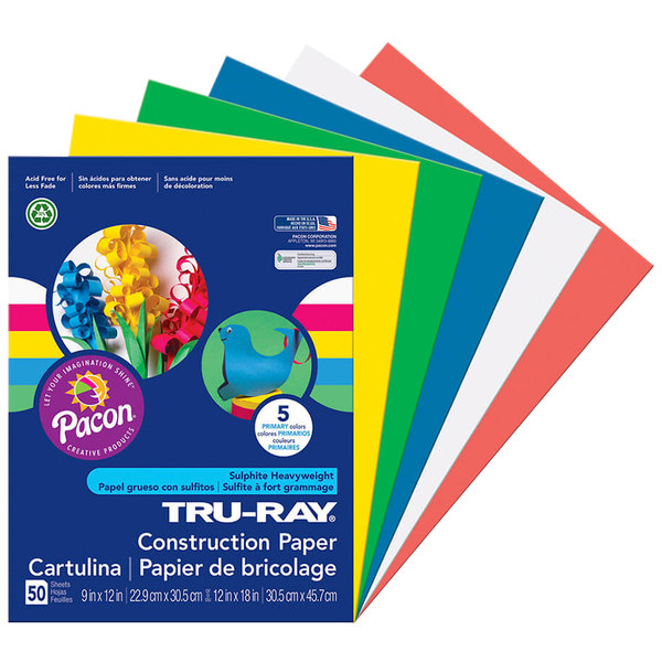 "Pacon 6572 Tru-Ray 9"" x 12"" Assorted Primary Color Pack of 76# Construction Paper - 50/Sheets"