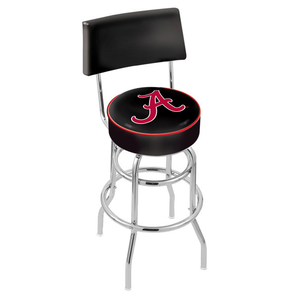 Holland Bar Stool L7C430AL-A University of Alabama Double Ring Swivel Stool with Padded Back and Seat