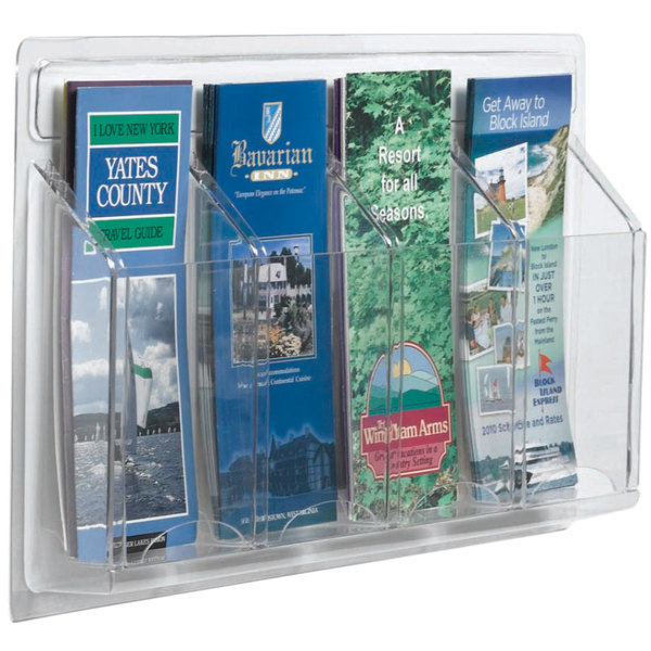 """Aarco LRC121 21"""" x 11"""" Clear-Vu 4-Pocket Pamphlet Display Main Image 1"""