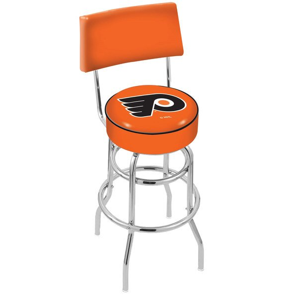 Holland Bar Stool L7C430PhiFly-O Philadelphia Flyers Double Ring Swivel Stool with Padded Back and Seat