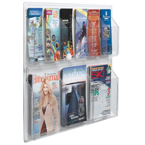"""Aarco LRC106 30"""" x 23"""" Clear-Vu Combination Pamphlet and Magazine Display with 6 Pamphlet Pockets and 3 Magazine Pockets Main Image 1"""