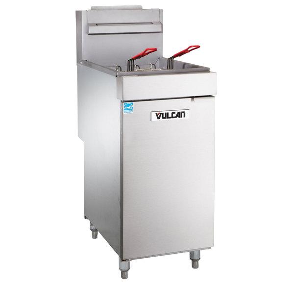 Vulcan 1VEG35M-1 Natural Gas 35-40 lb. Floor Fryer with Millivolt Controls on
