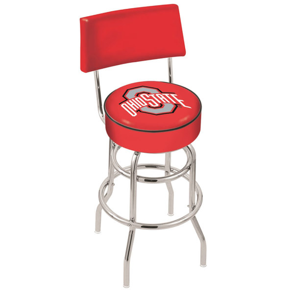 Holland Bar Stool L7C430OhioSt Ohio State University Double Ring Swivel Stool with Padded Back and Seat