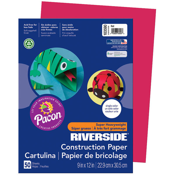 """Pacon 103590 Riverside 9"""" x 12"""" Red Pack of 76# Construction Paper - 50/Sheets"""