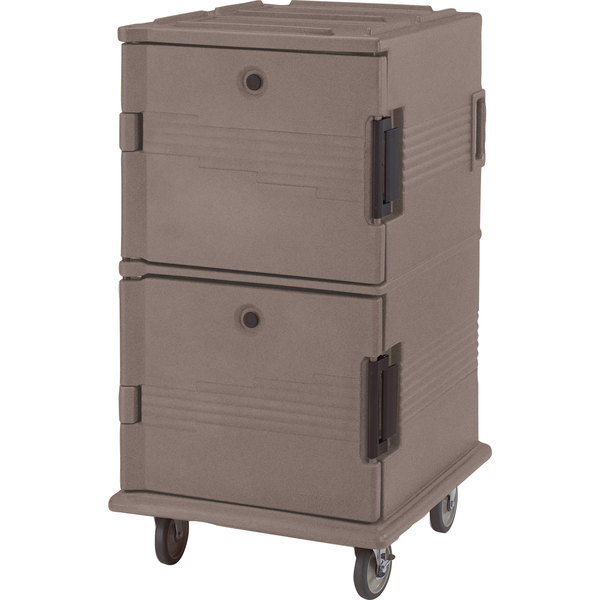 Cambro UPC1600HD194 Ultra Camcarts® Granite Sand Insulated Food Pan Carrier with Heavy-Duty Casters - Holds 24 Pans Main Image 1