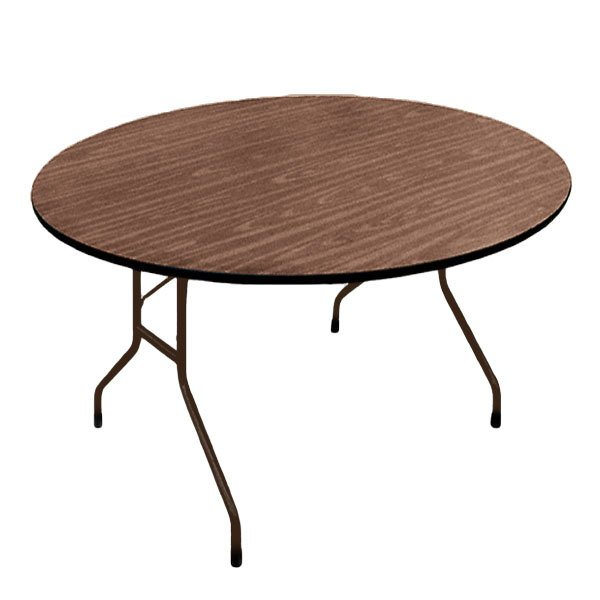 "Correll PC60P01 60"" Round Walnut Solid High Pressure Heavy Duty Folding Table with Plywood Core Main Image 1"