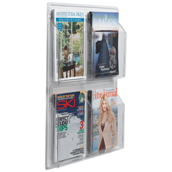 "Aarco LRC104 21"" x 25"" Clear-Vu 4-Pocket Magazine Display Main Image 1"
