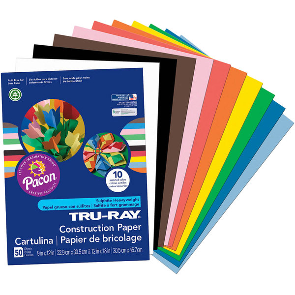 """Pacon 103031 Tru-Ray 9"""" x 12"""" Assorted Color Pack of 76# Construction Paper - 50/Sheets"""
