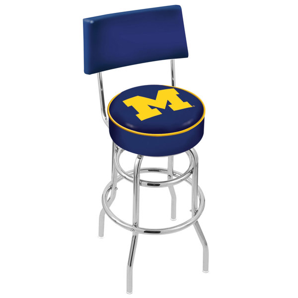 Holland Bar Stool L7C430MichUn University of Michigan Double Ring Swivel Stool with Padded Back and Seat Main Image 1