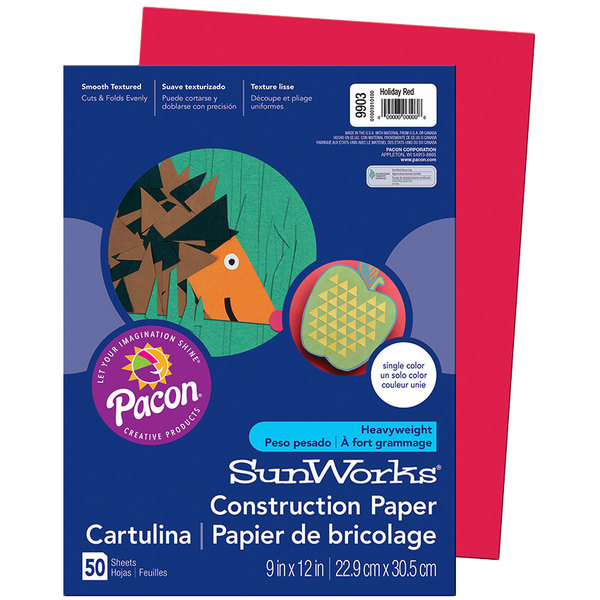 """SunWorks 9903 9"""" x 12"""" Holiday Red Pack of 58# Construction Paper - 50/Sheets"""