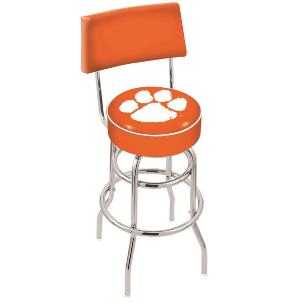 Holland Bar Stool L7C430Clmson Clemson University Double Ring Swivel Stool with Padded Back and Seat Main Image 1