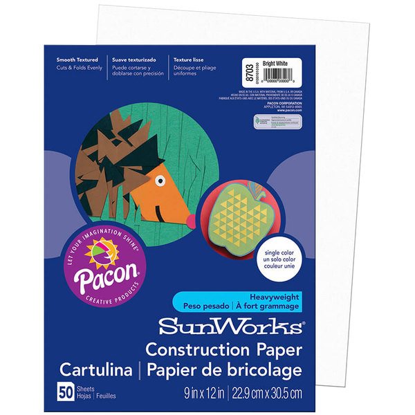 """SunWorks 8703 9"""" x 12"""" Bright White Pack of 58# Construction Paper - 50/Sheets"""