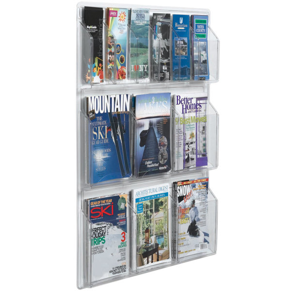 """Aarco LRC107 30"""" x 35"""" Clear-Vu Combination Pamphlet and Magazine Display with 6 Pamphlet Pockets and 6 Magazine Pockets Main Image 1"""