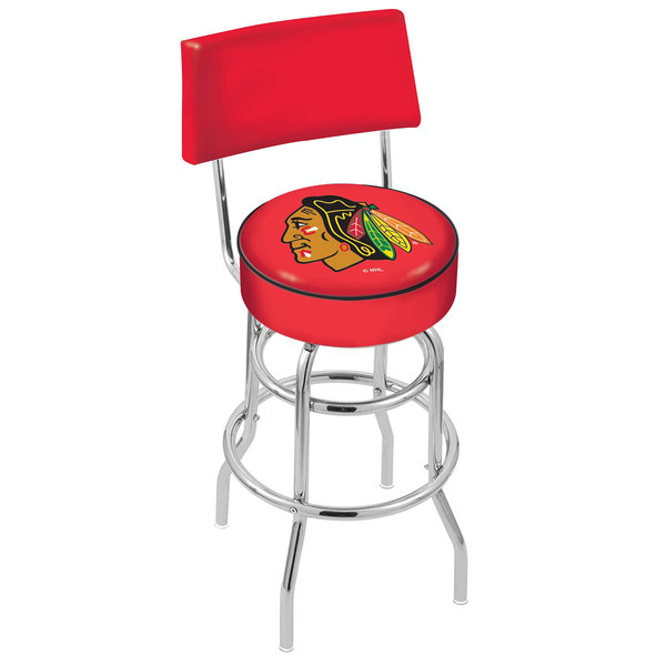 Holland Bar Stool L7C430ChiHwk-R Chicago Blackhawks Double Ring Swivel Stool with Padded Back and Seat