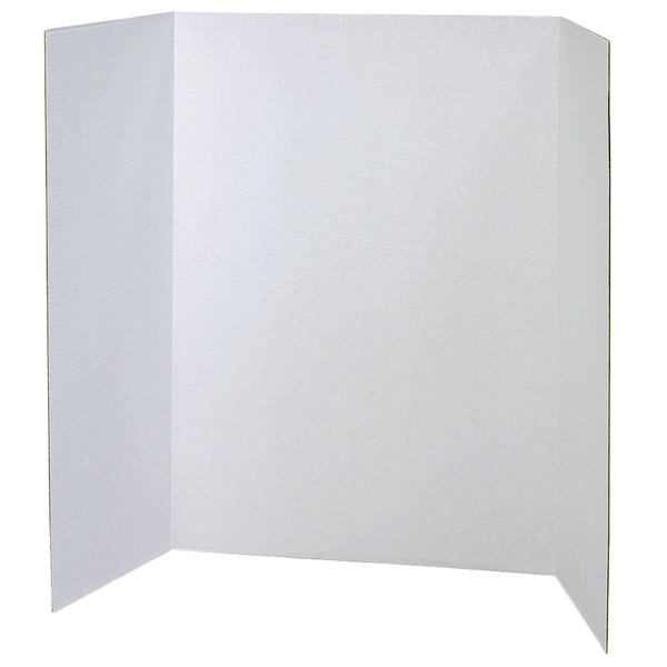 "Pacon 37634 Spotlight 48"" x 36"" White Tri-Fold Corrugated Presentation Display Board - 4/Case"
