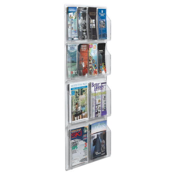"""Aarco LRC114 21"""" x 45"""" Clear-Vu Combination Pamphlet and Magazine Display with 8 Pamphlet Pockets and 4 Magazine Pockets Main Image 1"""