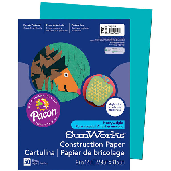 "SunWorks 7703 9"" x 12"" Turquoise Pack of 58# Construction Paper - 50/Sheets"