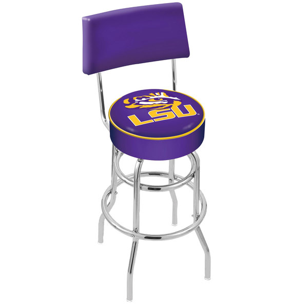 Holland Bar Stool L7C430LaStUn Louisiana State University Double Ring Swivel Stool with Padded Back and Seat Main Image 1