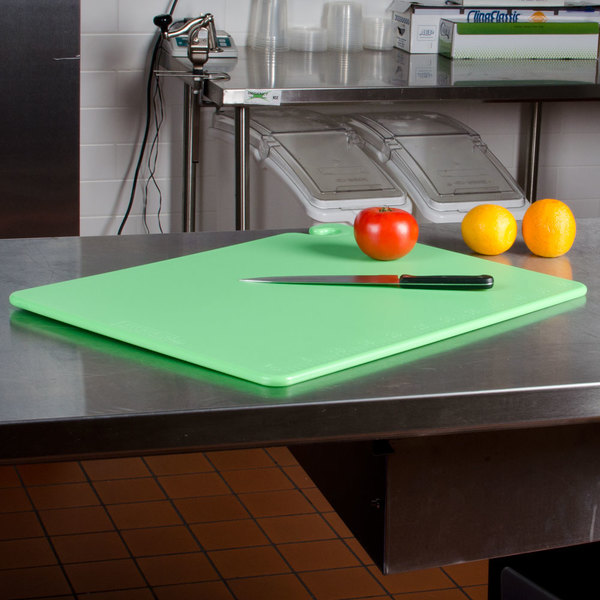 "San Jamar CB182412GN Green 18"" x 24"" x 1/2"" Cut-N-Carry Cutting Board with Hook"