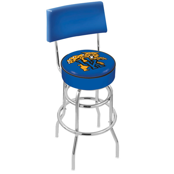 Holland Bar Stool L7C430UKYCat University of Kentucky Double Ring Swivel Stool with Padded Back and Seat