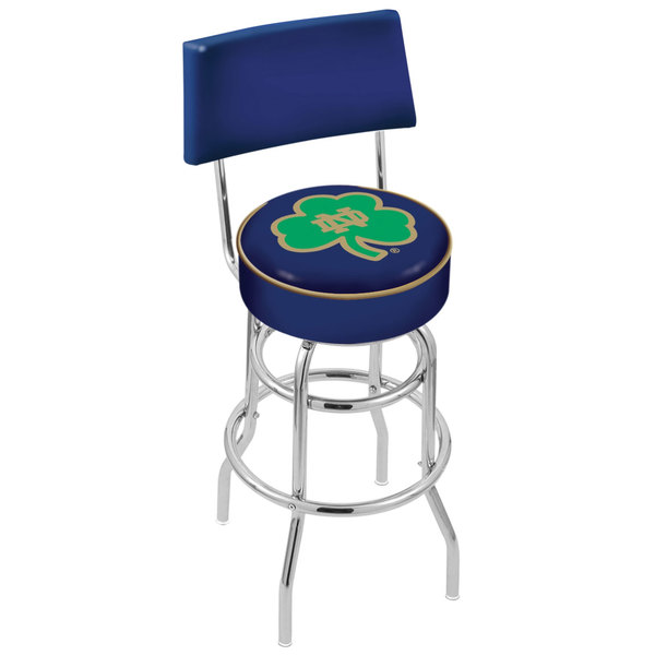 Holland Bar Stool L7C430ND-Shm University of Notre Dame Double Ring Swivel Stool with Padded Back and Seat
