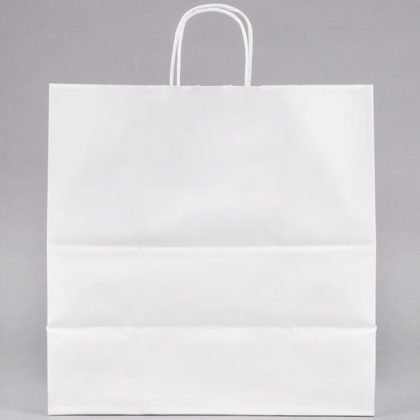 Duro Jr. Mart White Paper Shopping Bag with Handles 13 inch x 7 inch x 13 inch - 250/Bundle