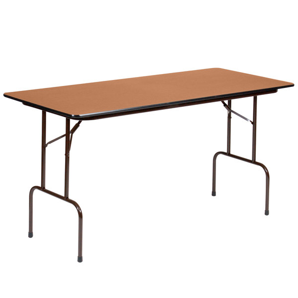 """Correll PC2496P06 24"""" x 96"""" Medium Oak Solid High Pressure Heavy Duty Folding Table with Plywood Core"""