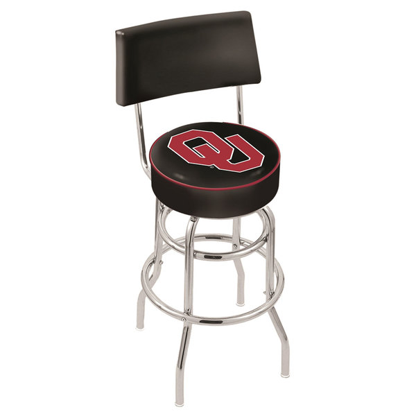 Holland Bar Stool L7C430Oklhma University of Oklahoma Double Ring Swivel Stool with Padded Back and Seat