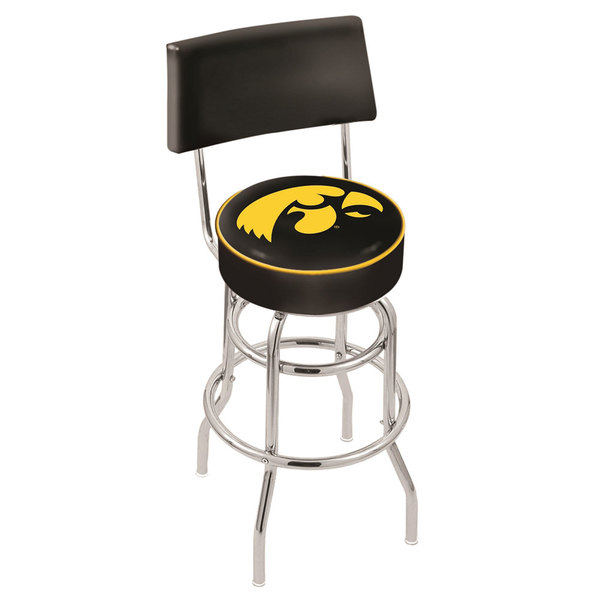 Holland Bar Stool L7C430IowaUn University of Iowa Double Ring Swivel Stool with Padded Back and Seat