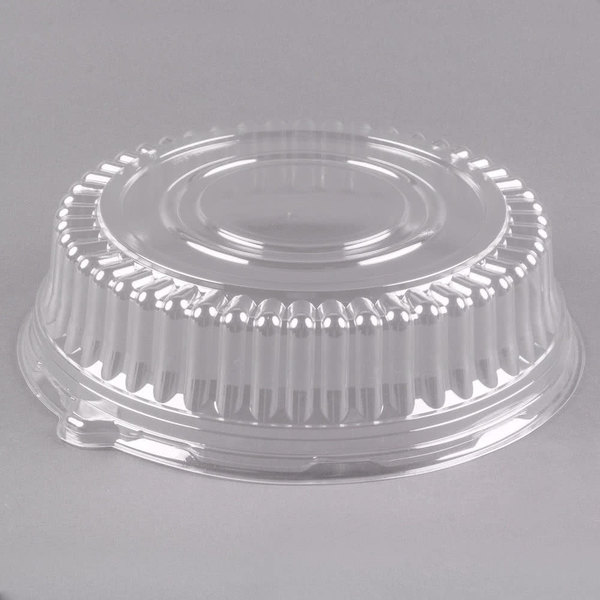 "Visions 12"" Clear PET Plastic Round Catering Tray High Dome Lid - 5/Pack"