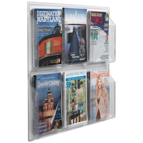 "Aarco LRC103 30"" x 25"" Clear-Vu 6-Pocket Magazine Display Main Image 1"