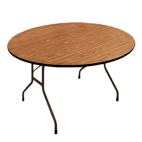 "Correll PC60P06 60"" Round Medium Oak Solid High Pressure Heavy Duty Folding Table with Plywood Core"
