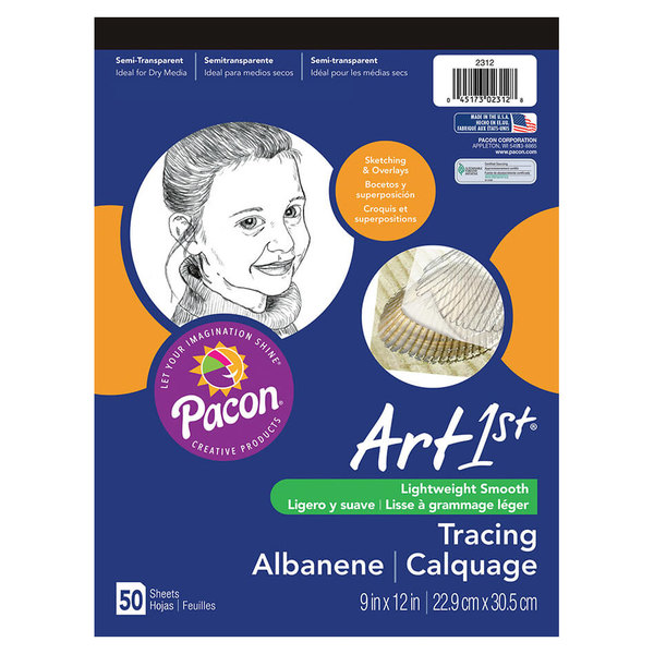 "Pacon 2312 Art1st 9"" x 12"" White Light Weight Smooth 16# Parchment Paper Tracing Pad"