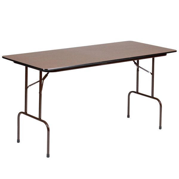 """Correll PC3672P01 36"""" x 72"""" Walnut Solid High Pressure Heavy Duty Folding Table with Plywood Core Main Image 1"""