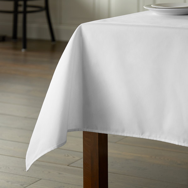 """Intedge 54"""" x 120"""" Rectangular White Hemmed Poly Cotton Tablecloth Main Image 4"""