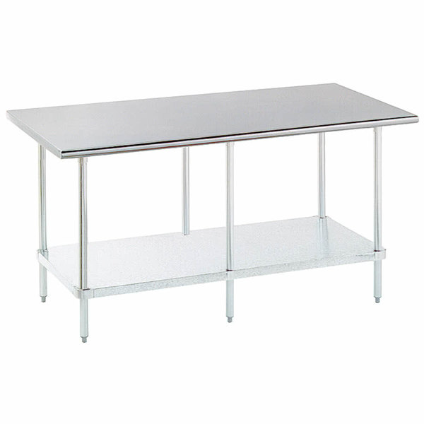 """Advance Tabco ELAG-248-X 24"""" x 96"""" 16 Gauge Stainless Steel Work Table with Galvanized Undershelf"""