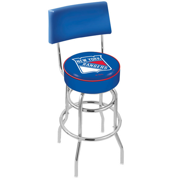 Holland Bar Stool L7C430NYRang New York Rangers Double Ring Swivel Stool with Padded Back and Seat Main Image 1