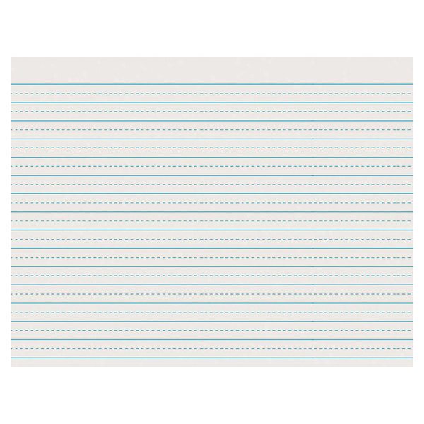 """Pacon 2623 8 1/2"""" x 11"""" White 1/4"""" Dotted 1/2"""" Ruled Ream of 30# Newsprint Paper - 500 Sheets"""