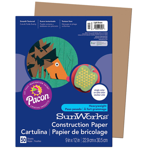 "SunWorks 6903 9"" x 12"" Light Brown Pack of 58# Construction Paper - 50/Sheets"