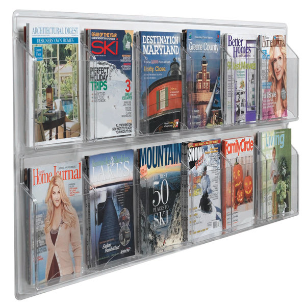 "Aarco LRC117 60"" x 25"" Clear-Vu 12-Pocket Magazine Display Main Image 1"