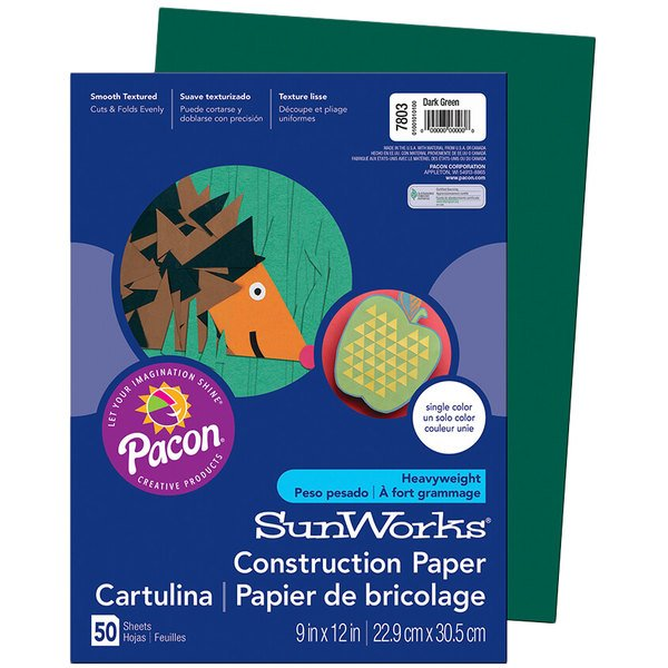 "SunWorks 7803 9"" x 12"" Dark Green Pack of 58# Construction Paper - 50/Sheets"