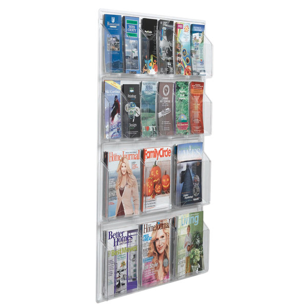 """Aarco LRC110 30"""" x 45"""" Clear-Vu Combination Pamphlet and Magazine Display with 12 Pamphlet Pockets and 6 Magazine Pockets Main Image 1"""