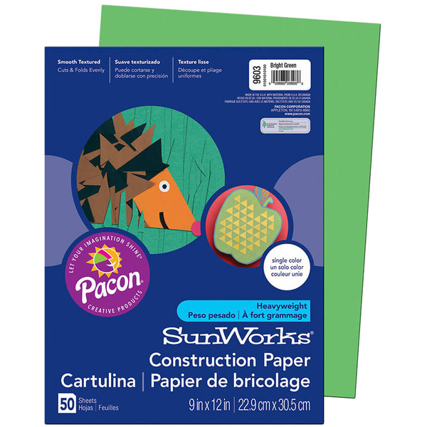 "SunWorks 9603 9"" x 12"" Bright Green Pack of 58# Construction Paper - 50/Sheets"