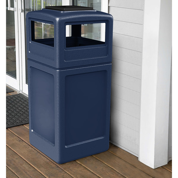 Commercial Zone 73304799 PolyTec 42 Gallon Dark Blue Waste Container with Ashtray Dome Lid