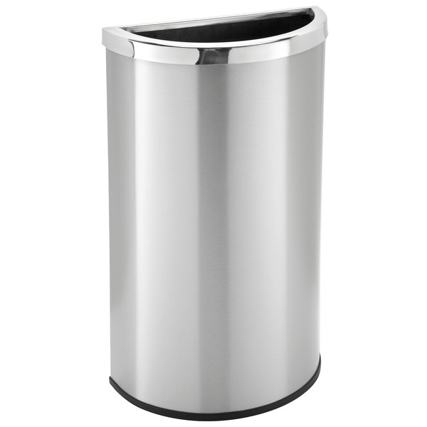 Commercial Zone 783929 Precision Half Moon 15 Gallon Stainless Steel Flat Sided Open Top Trash Receptacle