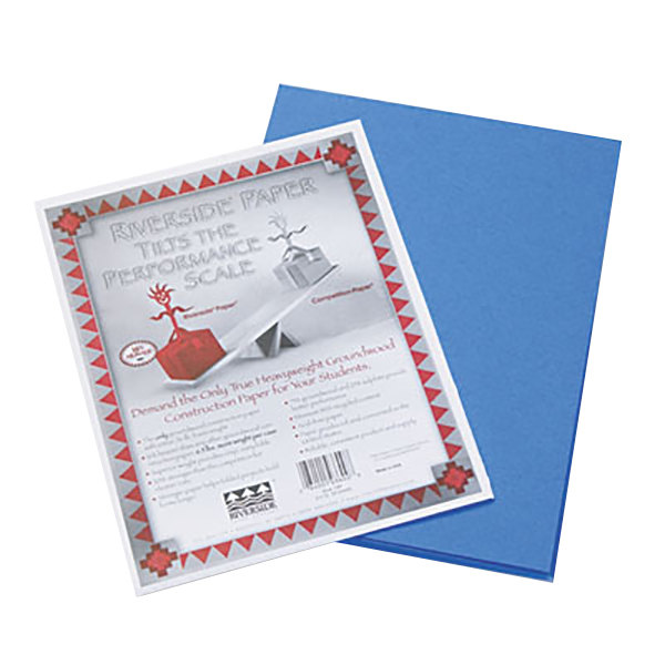 """Pacon 103600 Riverside 9"""" x 12"""" Blue Pack of 76# Construction Paper - 50/Sheets"""