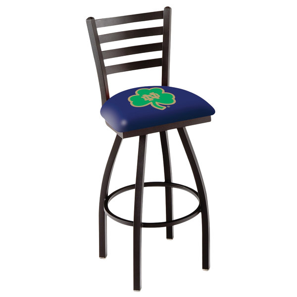 Holland Bar Stool L01430ND-Shm University of Notre Dame Swivel Stool with Ladder Back and Padded Seat